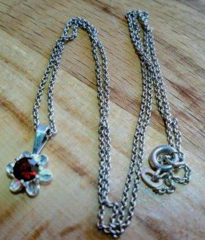 Antikschmuck Srebrny łańcuch srebrny-ciemnoczerwony