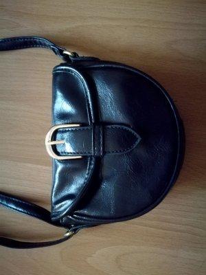 Kleine dunkelblaue Leder Vintage Handtasche mit Gold