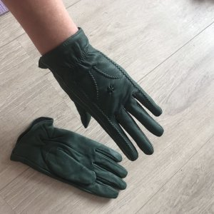 Faux Leather Gloves forest green