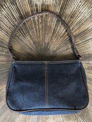 H&M Bolso de tela azul oscuro-marrón