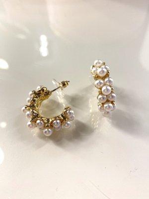 Zarcillo blanco-color oro