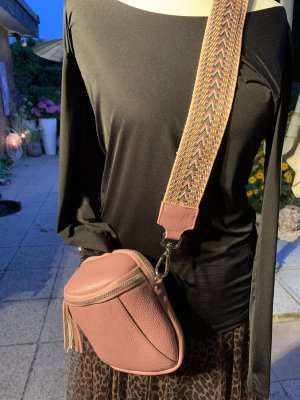 Kleine Leder Umhängetasche made in Italy in altrosa mit 2 Riemen