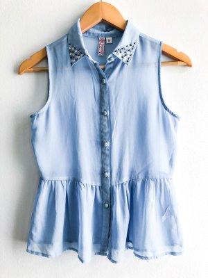 kleine leichte himmelblau- transparente Bluse mit Pailletten