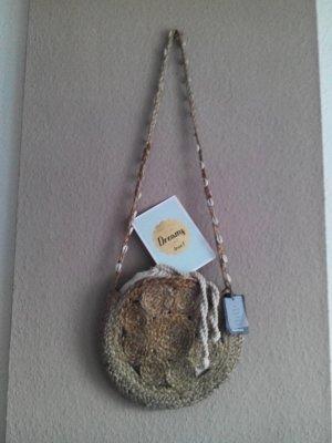 Mango Bolso tipo cesta marrón arena-blanco puro tejido mezclado