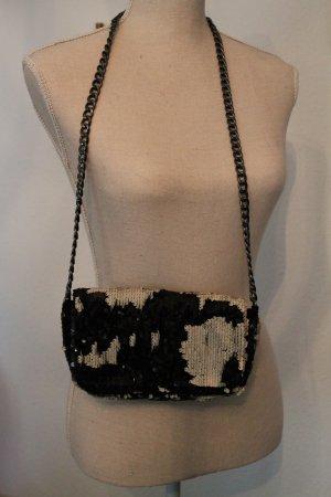 kleine Pailletten - Tasche * Kettenhenkel * Black & White * NEU *