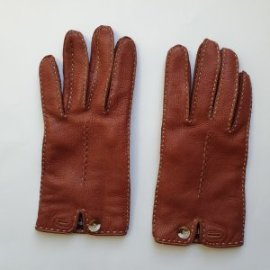 Roeckl Leather Gloves cognac-coloured-natural white