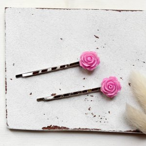 Pinza para el pelo color plata-rosa metal