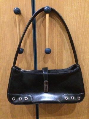 Kleine schwarze Handtasche aus Leder