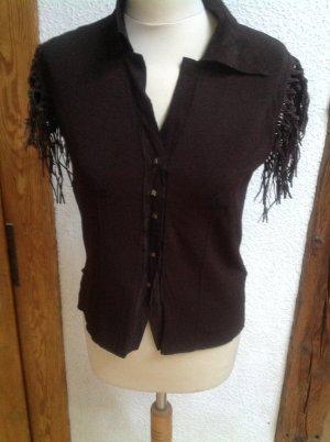 Roberta Scarpa Chaqueta estilo camisa marrón-negro tejido mezclado