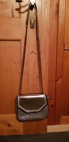Kleine silberne Handtasche aus 100% Echtleder