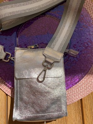 Börse in Pelle Mobile Phone Case silver-colored leather