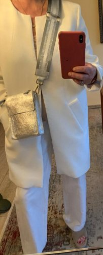 Kleine silberne Leder Umhängetasche mit breitem & schmalem Riemen neu