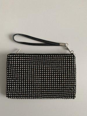 Kleine Tasche schwarz mit Strass clutch Kosmetiktasche