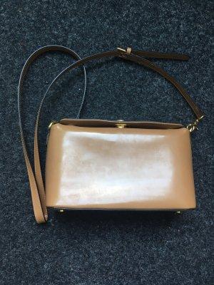 Kleine Tasche Umhängetasche Damentasche braun gold
