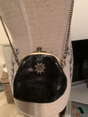 Traditional Bag black-gold-colored leather