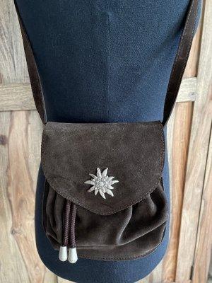 Kleine Trachtentasche aus Wild- und Glattleder, dunkelbraun