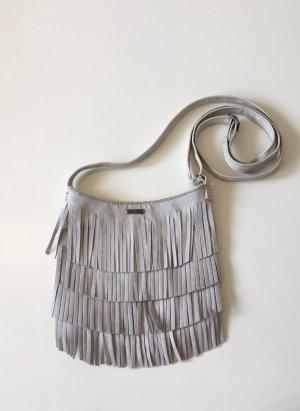 Kleine Umhängetasche Handtasche von Hollister grau Wildlederoptik Lederimitat Fransen Festival