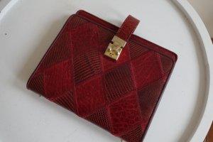 Kleine Vintage Lederhandtasche (mit Ösen für einen ängere Henkel)