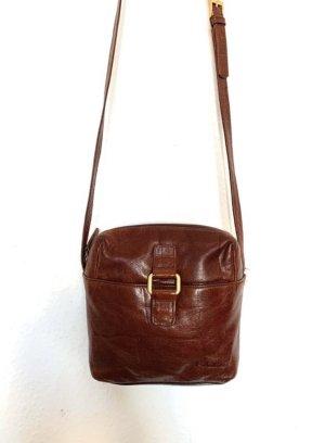 Kleine Vintagetasche/ Umhaengetasche in braun mit goldenem Detail vorn