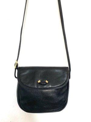 Kleine Vintagetasche/ Umhaengetasche in schwarz mit goldenem Detail vorn