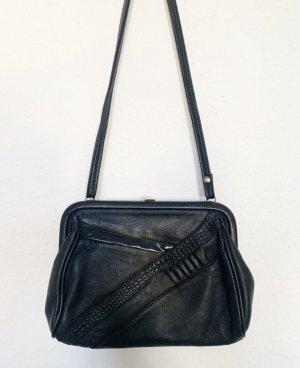 Kleine Vintagetasche/ Umhaengetasche mit Applikationen vorn in schwarz