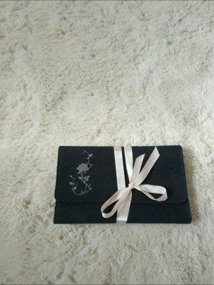 Kleine weiche Clutch/ Täschchen in schwarz rosa von Kate Moss