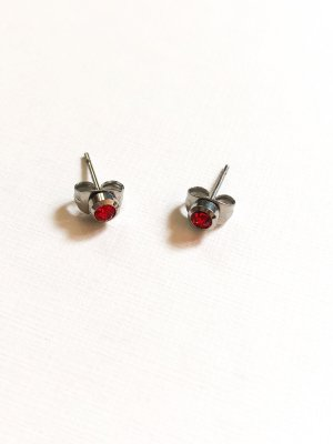 Ear stud silver-colored-red