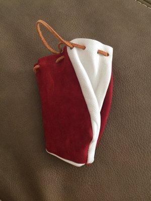 Portefeuille blanc-rouge foncé cuir