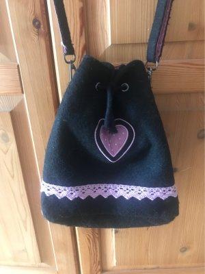 Tradycyjna torebka czarny-różowy