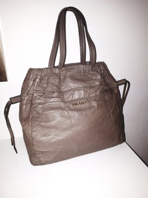 Prada Shopper grey-grey brown leather