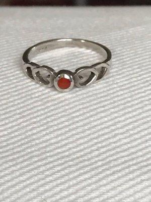 Kleiner Ring Silber 925 mit Carneol Größe 48 Durchmesser 15,3 mm