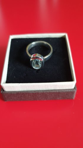 Srebrny pierścionek srebrny-błękitny