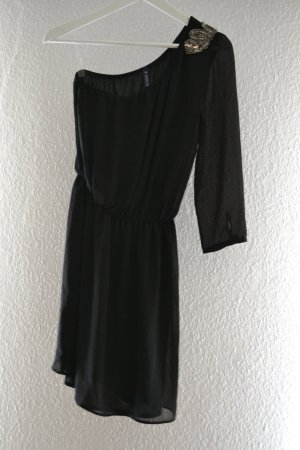 Bershka Vestido de un hombro negro-color oro
