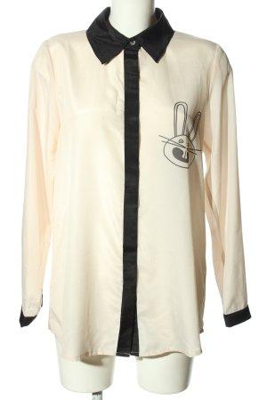 Kling Langarm-Bluse wollweiß-schwarz Motivdruck Elegant