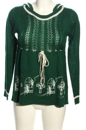 Kling Hooded Sweater khaki-cream themed print casual look