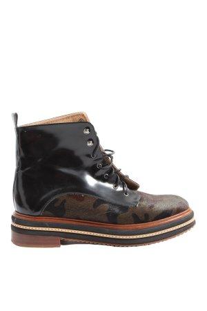 KMB Gotyckie buty czarny-brązowy Wzór moro W stylu casual