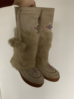 KMB Winterschuhe Stiefel Fell Perlen Schuhe