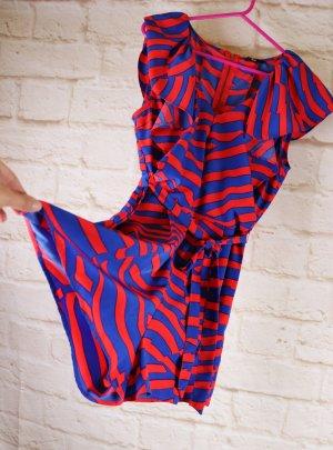 Knallig Playsuit Kurzoverall Jumpsuit Sommer H&M Größe 36 / 38 Zebra Muster Volants Rot Blau Jumper