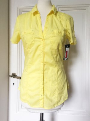 Knallige gelbe Kurzarmbluse NEU mit Etikett 100 % Baumwolle
