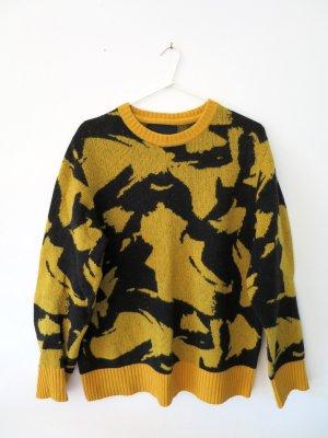 Peak performance Maglione lavorato a maglia giallo scuro-nero Lana