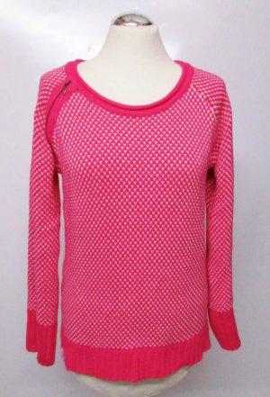 Knalliger Strickpullover Rundhals KangaROOS Größe L 40/42 Pink Weiß Strick Pulli Raglan Pullover