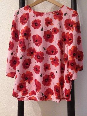 Knalligfarbene Bluse mit Mohnblumen