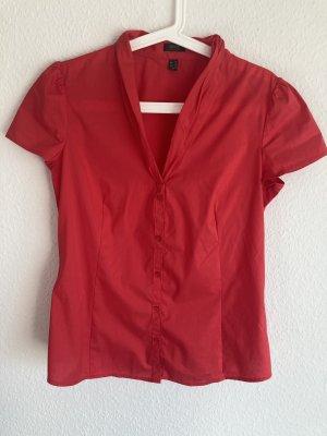 *Knallrot* Leichte Bluse, kleiner Stehkragen, tailliert, Gr. 38