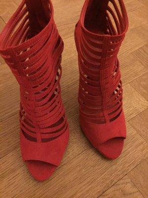 Knallrote Offene High Heels - zwei mal getragen