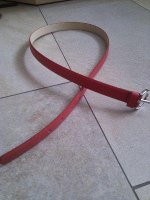 knallroter schmaler Kunstledergürtel - top Zustand