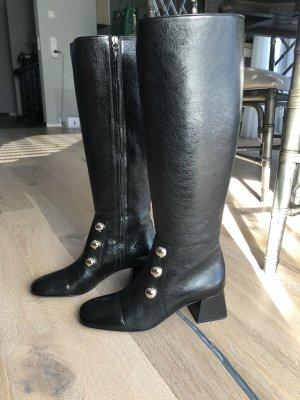Knee high Boots / Stiefel von Burberry / Leder Schuhe / Schwarz / Größe 40