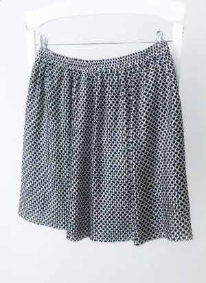 H&M Pleated Skirt black-natural white