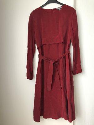 COS Sukienka o kroju litery A ceglasty-ciemnoczerwony Cupro