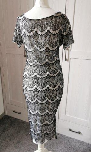 Knielanges Vintage Kleid Pencilkleid Spitze Kurzarm