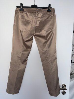 Pantalón de pinza marrón claro-color bronce